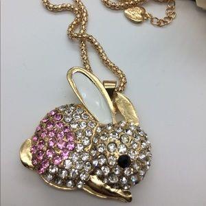 NWOT jeweled bunny necklace